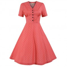 LINDY BOP 'IONIA' CORAL POLKA DOT TEA DRESS